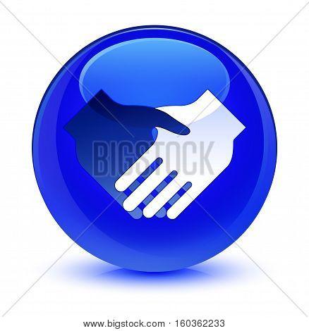 Handshake Icon Glassy Blue Round Button