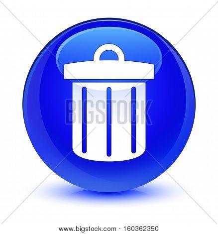 Recycle Bin Icon Glassy Blue Round Button