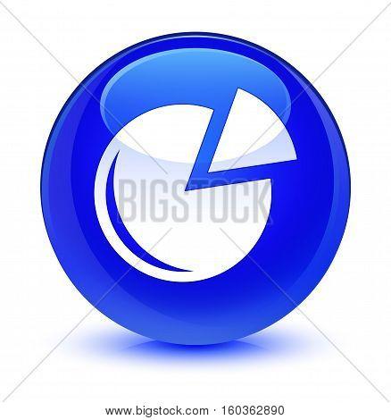Graph Icon Glassy Blue Round Button