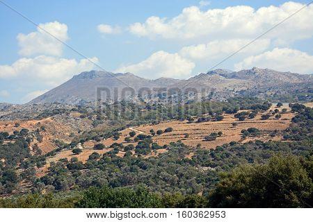 View of the mountainous countryside near Margarites Crete Greece Europe.