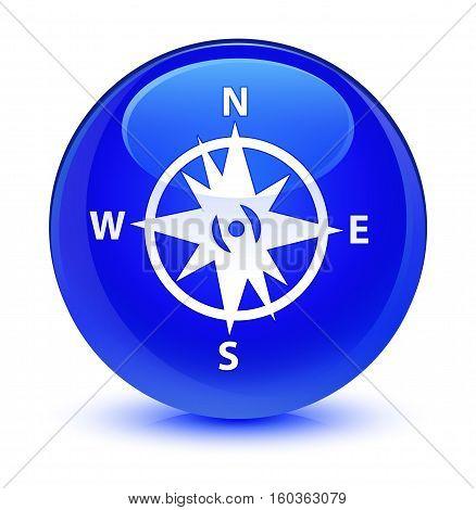 Compass Icon Glassy Blue Round Button