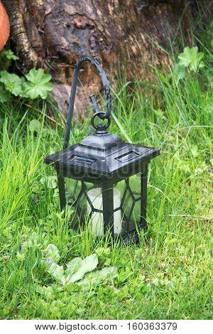 Light in the garden / Street lamp standing on the grass