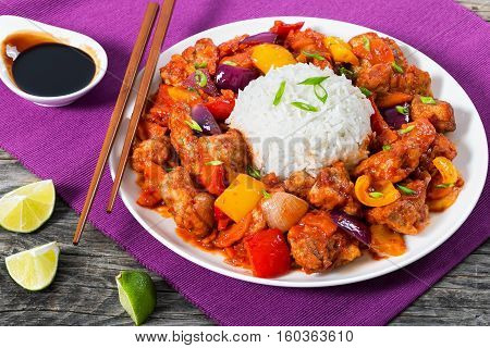 Rice And Pork Chunks With Vegetables, View From Above