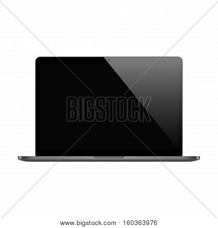 laptop black color with blank screen isolated on white background. stock vector illustration eps10