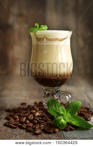 Iced Mint  Latte In A Glass .