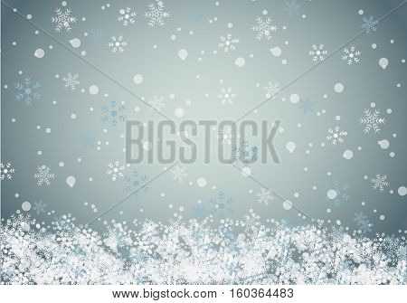 Winter background with snow falling. vector illustration.