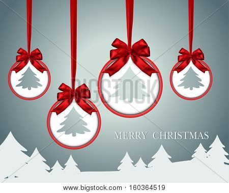 Christmas paper card with red bow ribbon and Pine. Winter background. Vector illustration.
