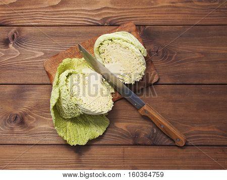 Savoy Cabbage Cut In Half