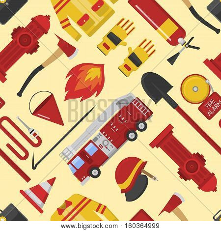 Color vector seamless pattern firefighter equipment. Flat icon emergency fireman hydrant engine protection background. Instrument work repeating vector design.