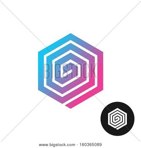 Hex spiral colorful technical cornered pad logo