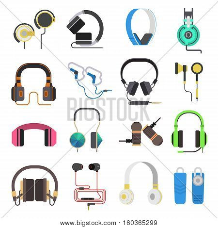 Headphones vector set music technology. Studio sound design headphones vector collection on white background. Dj speaker equipment small headphone element volume.