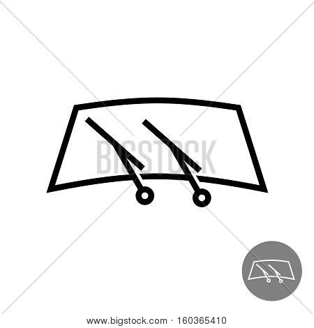 Windshield car glass with two wipers illustration