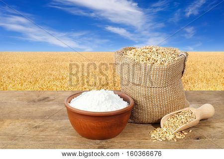Wheat grains in sack and flour in bowl on table with field of wheat on the background. Agriculture and harvest concept. Golden wheat field and blue sky