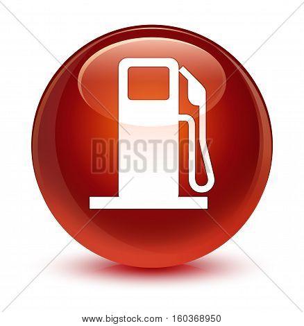 Fuel Dispenser Icon Glassy Brown Round Button