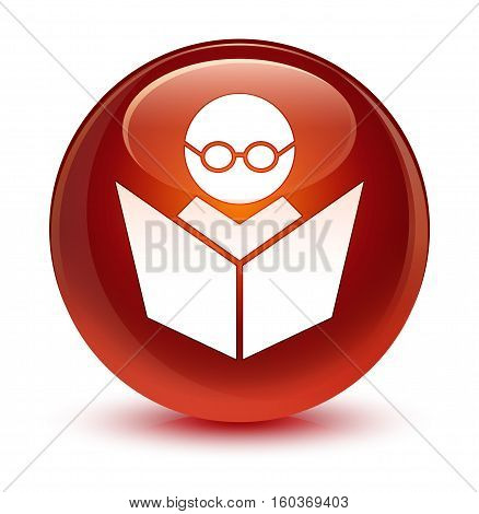 Elearning Icon Glassy Brown Round Button