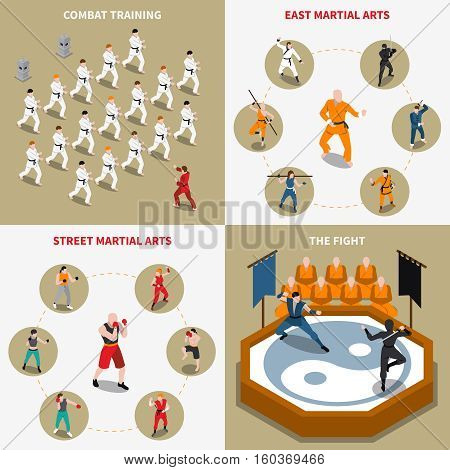 People doing various types of martial arts isometric 2x2 icons set isolated vector illustration