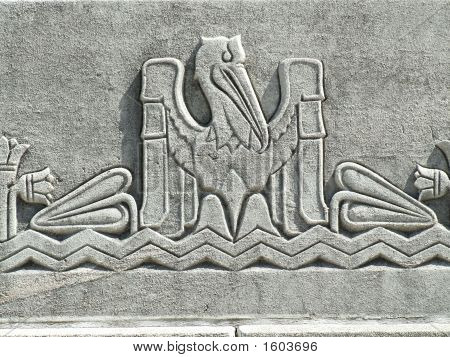 "Architectural detail of the Louisiana State Capitol in Baton Rouge showing a ""pelican in her pity"" the state symbol of Louisiana. Built in the 1930s it is one of only four skyscraper capitols in the country and one of only nine capitol buildings poster"