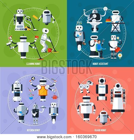 Smart robots concept with cyborgs involving in various sphere of life in flat style vector illustration