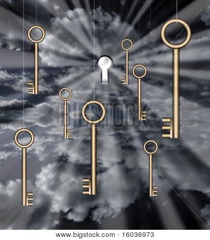Multiple Keys are suspended before a keyhole in the fabric of reality