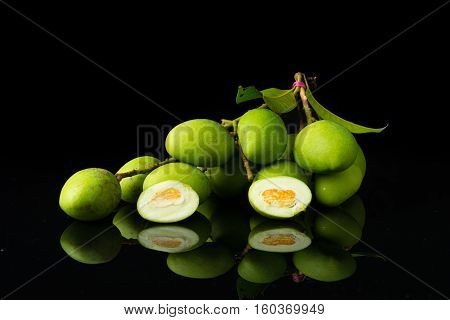 Close Up Mangifera Mango On Black