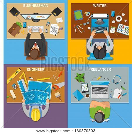 Professions 2x2 design concept set of businessman writer engineer freelancer top view workplaces flat vector illustration