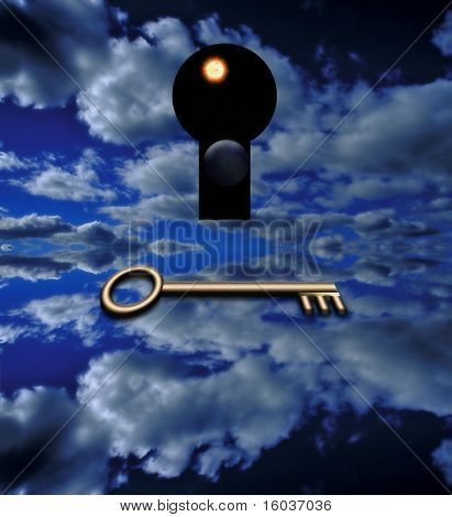 The key that opens A key waits before a keyhole thru which is a view of space
