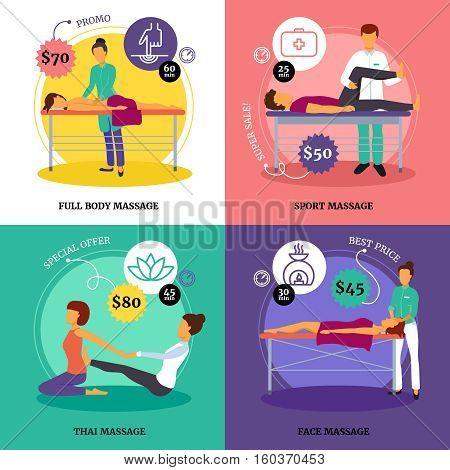 Massage and health concept icons set with full body and sport massage symbols flat isolated vector illustration