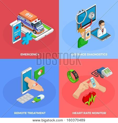 Digital health isometric concept with modern gadgets and methods of medical monitoring and treatment isolated vector illustration