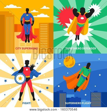 Superhero defender 2x2 design concept set of colorful compositions on city and abstract backgrounds cartoon vector illustration