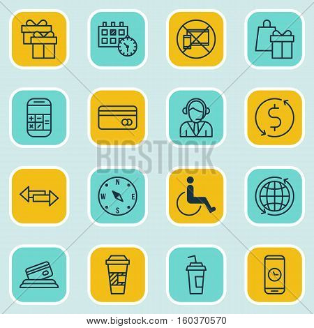 Set Of 16 Airport Icons. Can Be Used For Web, Mobile, UI And Infographic Design. Includes Elements Such As Paralyzed, Compass, Call And More.