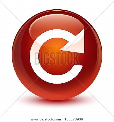 Reply Rotate Icon Glassy Brown Round Button