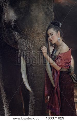 Thailand shows playing with an elephant Thai woman with elephant.