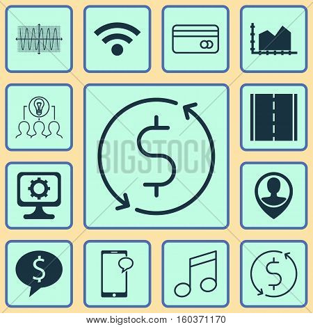 Set Of 12 Universal Editable Icons. Can Be Used For Web, Mobile And App Design. Includes Elements Such As Wireless, Crotchets, Sinus Graph And More.