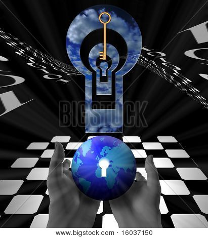A strange surreal image of the earth, a chessboard, a suspended key and multiple openings poster