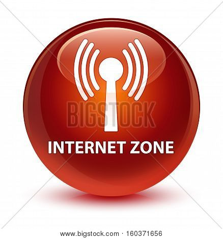 Internet Zone (wlan Network) Glassy Brown Round Button