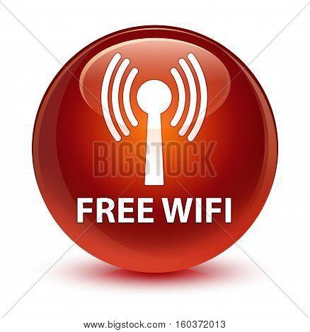 Free Wifi (wlan Network) Glassy Brown Round Button