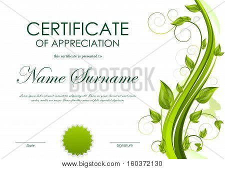 Certificate of appreciation template with green flower and seal. Vector illustration