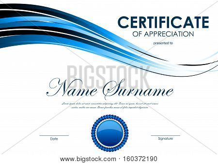 Certificate of appreciation template with blue bright curve wavy background and seal. Vector illustration