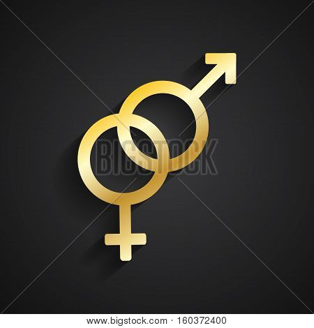 Heterosexual gold symbol with shadow on black background