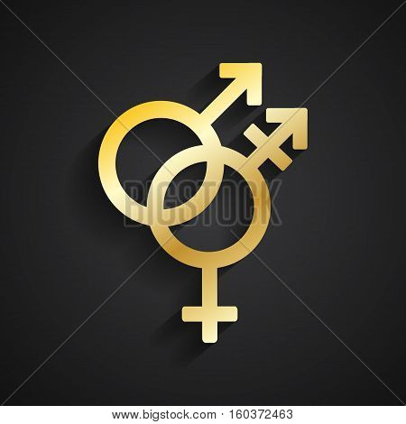Trans gender gold symbol on black background