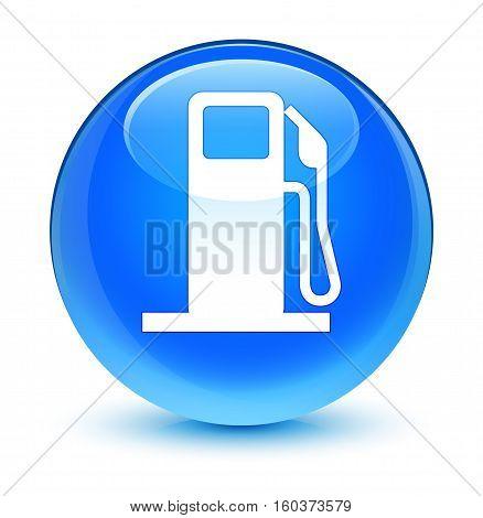 Fuel Dispenser Icon Glassy Cyan Blue Round Button