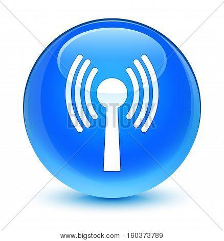 Wlan Network Icon Glassy Cyan Blue Round Button