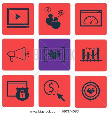 Set Of 9 Marketing Icons. Can Be Used For Web, Mobile, UI And Infographic Design. Includes Elements Such As Consulting, Marketing, Pay And More.