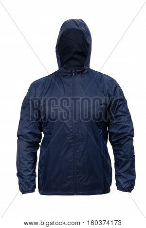 blue windbreaker sports jacket with hood isolated on white