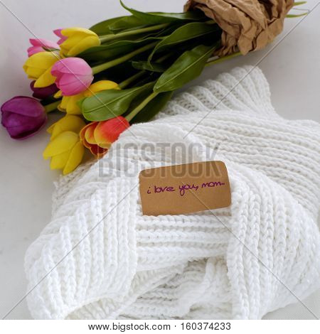 White Scarf And Tulip Flower Bouquet For Mother Day