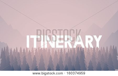 Itinerary word on nature background with trees