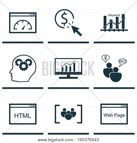 Set Of 9 Marketing Icons. Can Be Used For Web, Mobile, UI And Infographic Design. Includes Elements Such As Group, Plan, HTML And More.
