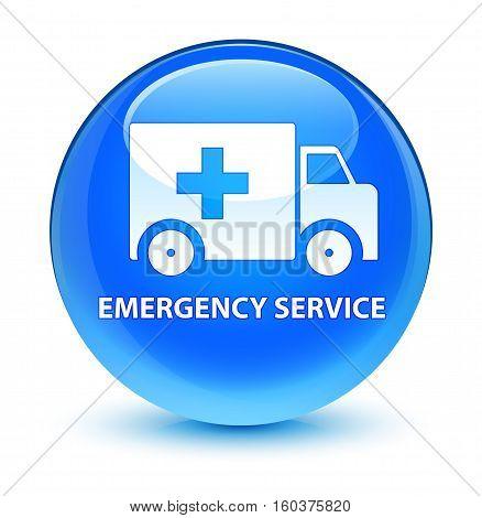 Emergency Service Glassy Cyan Blue Round Button