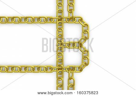 BLOCK CHAIN in a gold chain 3D illustration