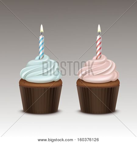 Vector Set of Birthday Cupcake with Light Blue Pink Whipped Cream and One Candle Close up Isolated on Background